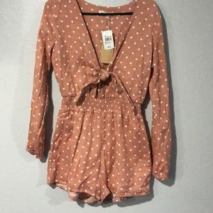 NWT Dusty Pink Dotted Tie Cutout Romper